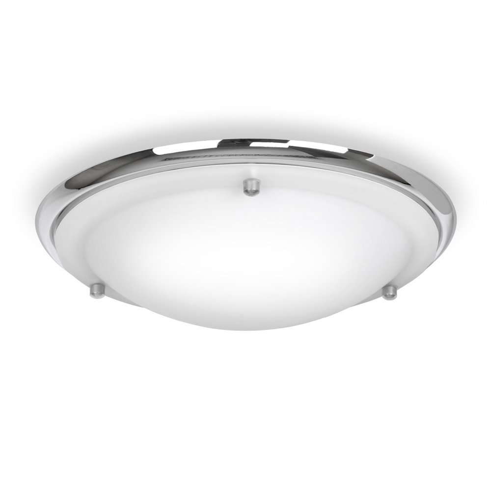 Modern Energy Saving IP44 Gloss White & Frosted Glass Flush Bathroom Ceiling Light - Supplied With 1 x 13w ES E27 Bulb MiniSun