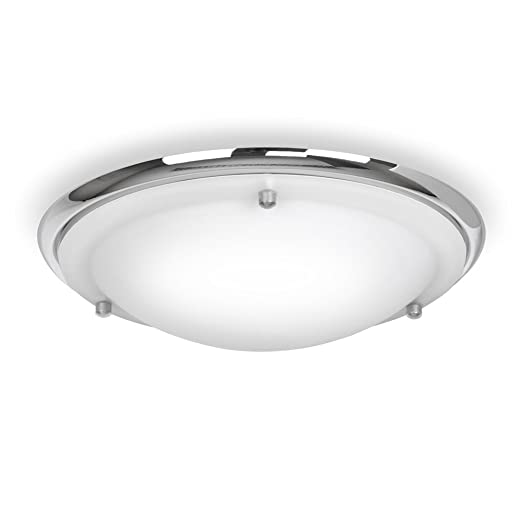 modern energy saving ip44 silver chrome glass flush bathroom ceiling light complete with 1 - Bathroom Ceiling Lights