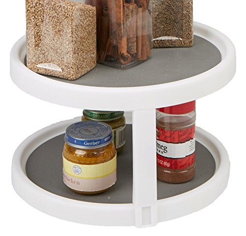 Mind Reader Herb and Spice Rack, Revolving Kitchen Storage Rack, Lazy Susan Countertop Organizer, White ()