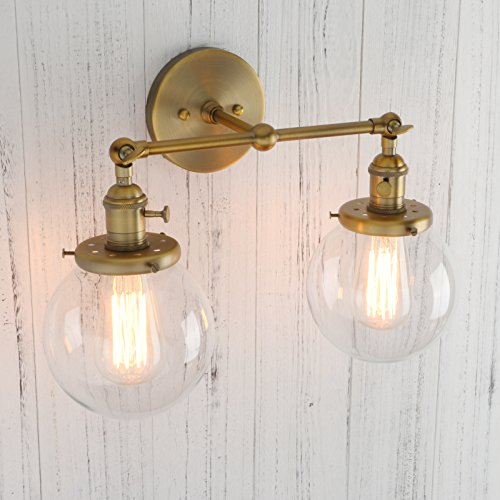 Permo Double Sconce Vintage Industrial Antique 2-Lights Wall Sconces with Dual Mini 5.9'' Round Clear Glass Globe Shade (Antique) by PERMO (Image #4)
