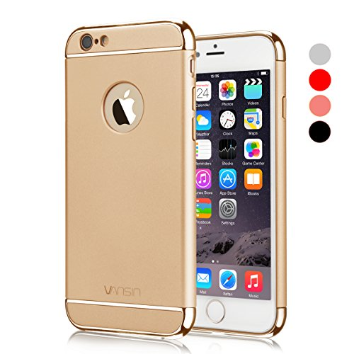 iPhone 6S Case, VANSIN 3 in 1 Ultra Thin and Slim Hard Case Coated Non Slip Matte Surface with Electroplate Frame for Apple iPhone 6 (2014) and iPhone 6s (4.7)(2015) - Gold