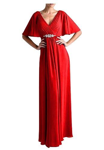 QINGYUAN Women's Flutter Sleeve Long Evening Formal Dresses for Women