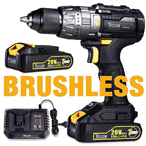 Drill Driver Brushless 60Nm, TECCPO Professional Max 20V Cordless Drill with 2 Batteries 2.0Ah, 30mins Fast Charger, 21+3 Torque Setting, LED Light, 29pcs Accessories - TDHD02P