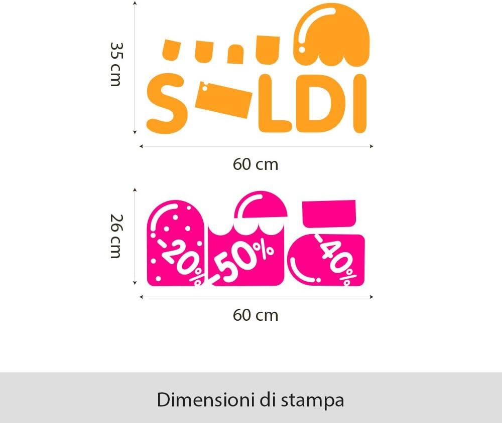 Misure 75x83 cm Adesivi Stickers Vetrine Negozi Estivi Arancio e Fucsia wall art VSD0175 Adesivi Murali Vetrofania ghiaccioli