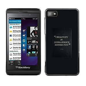 Caucho caso de Shell duro de la cubierta de accesorios de protección BY RAYDREAMMM - Blackberry Z10 - Having Fun Quote