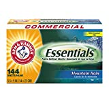 Arm & Hammer 3320000102 Essentials Dryer Sheets, Mountain Rain, Box of 144 Sheets (Case of 6 Boxes)