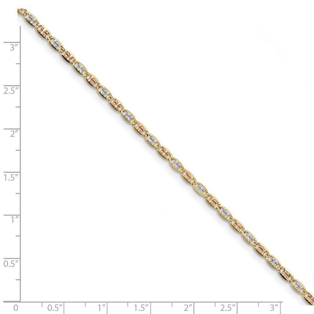 Briliant Bijou Genuine 14k 2.75mm Tri-Color Pav Valentino Chain Necklace 7 inches
