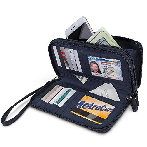 Mundi Double Zip Vegan Leather Womens RFID Clutch Wallet With Wristlet Strap (Navy) by Mundi (Image #1)