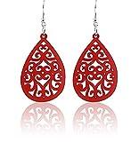 Spk Jewelry Vintage Tribal Wood Handmade Filigree Dangle Teardrop Earrings (Red)