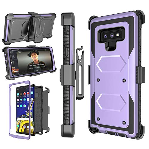 Njjex Case Compatible with Samsung Galaxy Note 9, [Nbeck] Shockproof Heavy Duty Rugged Locking Swivel Holster Belt Clip Kickstand Full Body Hard Shell Phone Cover Case for Samsung Note 9 [Purple]