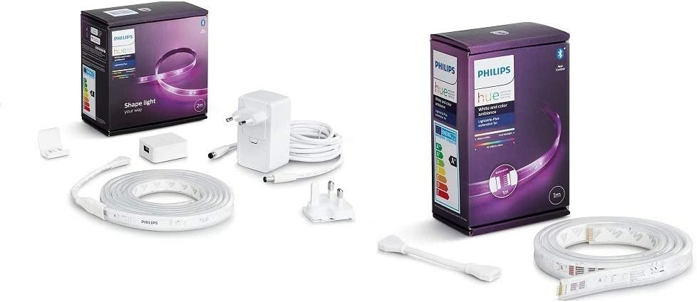 Philips Hue White & Color Ambiance Indoor LightStrips+ 2m base connectique, compatible...