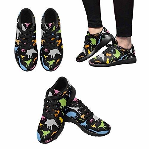 InterestPrint Womens Jogging Running Sneaker Lightweight Go Easy Walking Casual Comfort Running Shoes Dinosaur Pattern Multi 1 9XrgXU8mSU