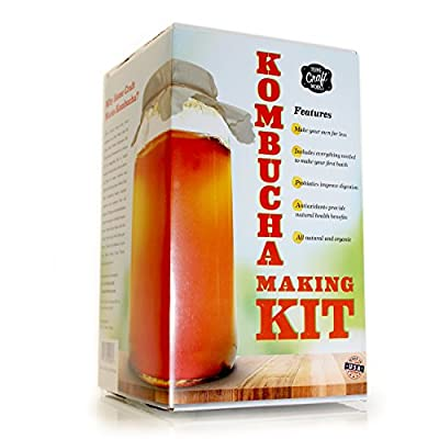 Home Craft Works Kombucha Brewing Kit Includes Organic Kombucha Scoby, Glass Brew Jar, Organic Loose Leaf Tea, Temperature Gauge, Organic Sugar, pH strips, cotton tea bag, and organic cotton cover