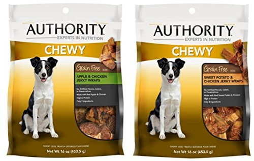 Authority Chewys Variety Bundle Grain Free Chicken and Apple Wraps Dog Treats 16oz and Grain Free Chewy Wrap Dog Treat, Sweet Potato and Chicken, 16oz