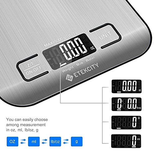 Etekcity Digital Kitchen Scale Multifunction Food Scale, 11lb 5kg, Silver, Stainless Steel (Batteries Included) by Etekcity (Image #2)