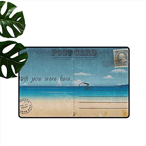 RenteriaDecor Travel,Printed Floor Mats Nostalgic Tropical Summer Season Backdrop on Vintage Card Stamp Travel Print 36