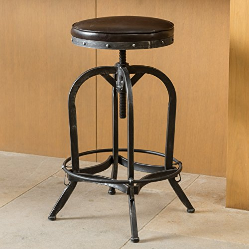 Dempsey | Rustic Industrial | Distressed Metal | Swivel Adjustable | Bar Stool (Brown Bonded Leather) ()