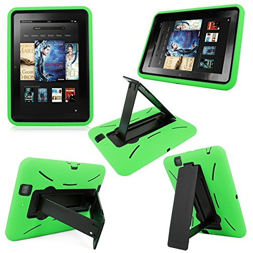 Cellularvilla Combo Case for Amazon Kindle Fire HD 7 7 Inch 2012 Edition Hybrid Armor Kickstand Hard Soft Case Cover with Stand (Green Black)