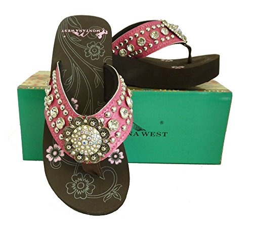 Pink Rhinestone Concho (Montana West Ladies Flip Flops Large Rhinestones Floral Concho Pink, 8 M)