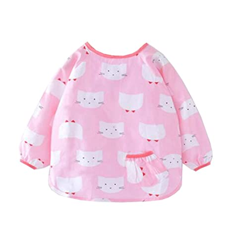 Buy Chinashow Women s Waterproof Long Sleeved Bib Feeding Clothes Bibs 2 4  Years Pink Cat 46 cm Multi Online at Low Prices in India - Amazon.in 6e22cd22d7