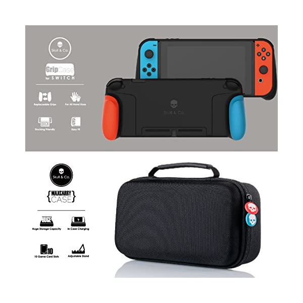 Skull & Co. GripCase Set: A Dockable Protective Case with Replaceable Grips [to fit All Hands Sizes] for Nintendo Switch… 2