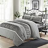 Chic Home Betsy 3-Piece Ruffled Duvet Cover Set, Queen, Silver