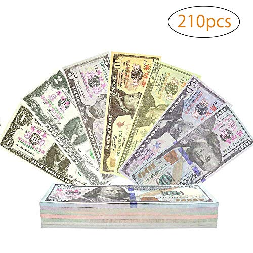 BestFire 210Pcs Prop Money Play Money Game Realistic Paper Money Full Print 2 Sided for Kids, Students, Movie, Pranks, Birthday Party, Play Board Games, Photography