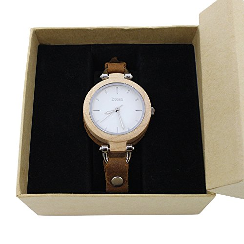 Wood Watch,Bosan Women Stylish CD Line Small Face Unique Design Wooden Wrist Watch with Light Genuine Leather Strap(Maple) by Bosan (Image #6)