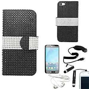 [ARENA] BLACK WHITE STRIPE BLING GEM FLIP COVER WALLET POUCH CASE for APPLE IPHONE 6 4.7 INCH + FREE ARENA ACCESSORY KIT