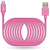 LP 3m/10ft Lightning Cable, Apple MFI Certified Connectors, Long Lightning to USB Cable Lightning Sync Charger Cable for iPhone 7/7 Plus/6s/Plus/6/5s, iPad Air 2/mini 4/mini 3, iPod Nano/Touch-Pink