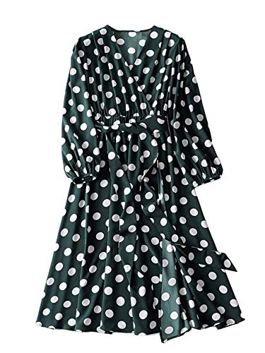 Romwe Women's Plus Elegant Vintage Polka Dot Surplice Maxi Dress Flare Flowy Party Dress Green 5XL