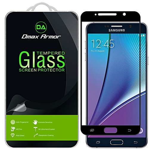 [2-Pack] Dmax Armor for Samsung Galaxy Note 5 Screen Protector, (Full Screen Coverage) [Tempered Glass] Anti-Scratch, Anti-Fingerprint, Bubble Free, (Black)
