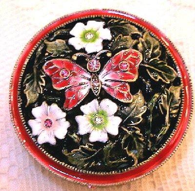 Welforth Jeweled Enamel & Crystal Filigree Pink Butterfly Trinket Jewelry Box ()