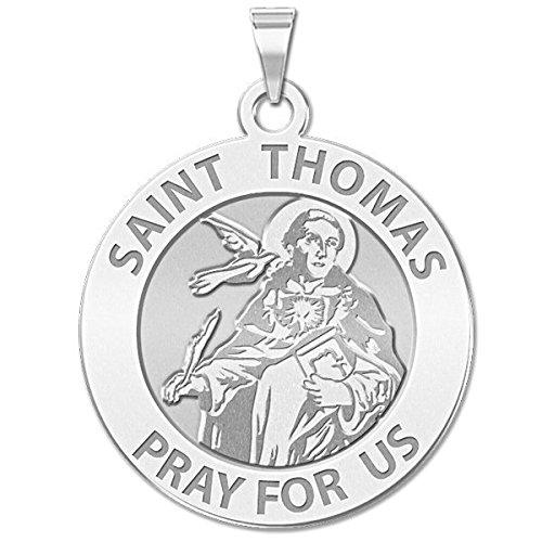 [Saint Thomas Aquinas Religious Medal - 2/3 Inch Size of Dime, Solid 14K White Gold] (14k White Gold Religious Medal)