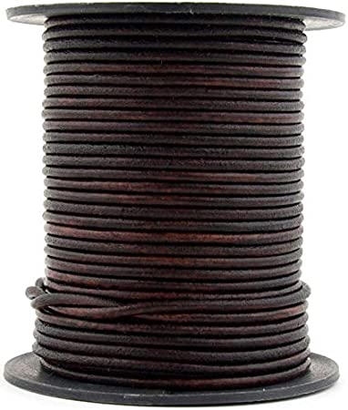 10 Yard Xsotica-Dye Round Leather Cords -1.5mm Leather Cord Natural Antique Purple, 10 Meter