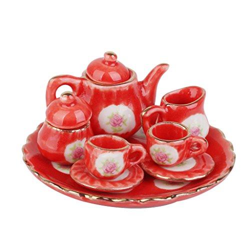 MagiDeal Dollhouse Miniature Dining Ware Porcelain Tea Set Dish Cup Plate 8pcs Red