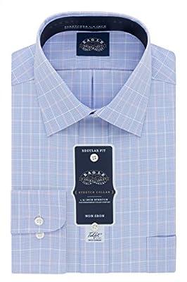 Eagle Men's Flex Regular Fit Plaid Spread Collar Dress Shirt