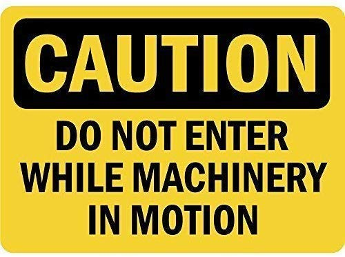 "Retro Vintage Tin Sign,12""x16""Caution Do Not Enter While Machinery in Motion Safety Warning Business Signs Commercial Metal Sign Metal Aluminum"
