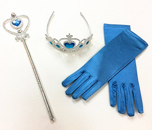 Mozlly Ice Princess Blue Wand and Tiara 3pc Set - Includes Gloves, Tiara, and Wand (3 items) - Item #110060