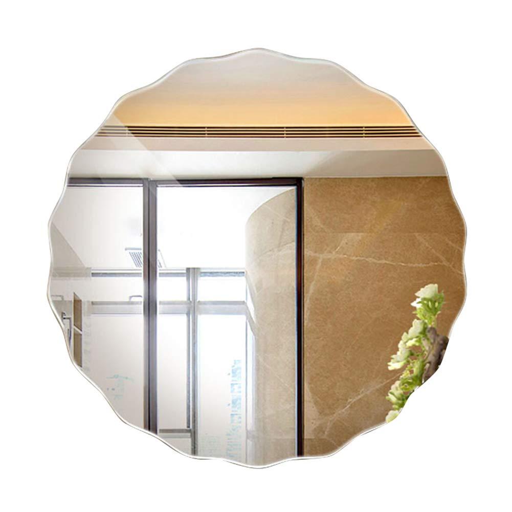 Bathroom mirror Specchio del Bagno Specchio da Parete Rotondo con Bordo Ondulato di Grandi Dimensioni Semplice e Arrotondato Spessore 5 mm - Specchietto da Trucco Specchio per Trucco 50 * 50cm BOPISHOP