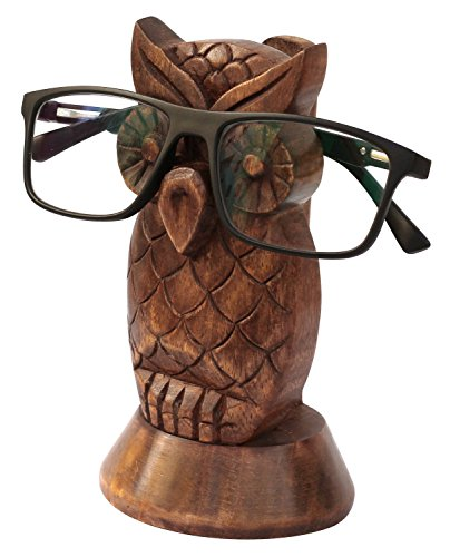 The StoreKing Wooden Eyeglass Spectacle Holder Handmade Mustache Display Stand Office Desk Home Decor Gifts (Owl Design1)