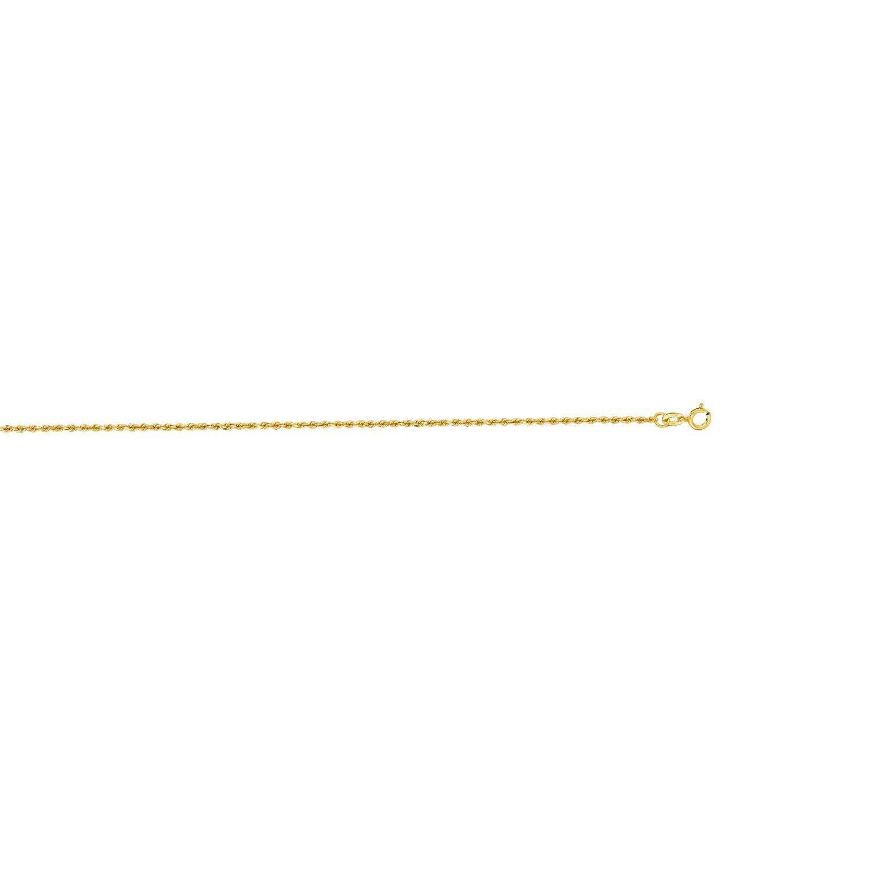 10k Yellow Gold 10 Inch 1.25mm Polish Diamond Cut Finish Rope Anklet Bracelet