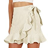 Women Mini Short Skirts,Summer Stripe Ruffle High Waist Fashion Elegant Dress (Khaki, S)