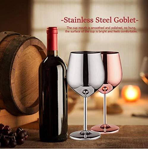 Weingläser aus Edelstahl, Weinbecher weinglas Rotweinglas Sektkelch Becher Trinkbecher 500 ml 2er Set 500 ml silberfarben Rotweingläser für Wein camping geschenk