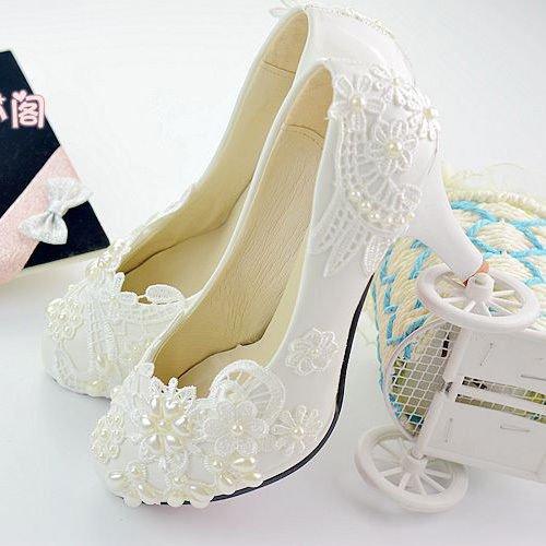 Blanc JINGXINSTORE Chaussures de mariage nuptiale à la main chaussures à talons hauts perle dentelle blanche chaussures UK5