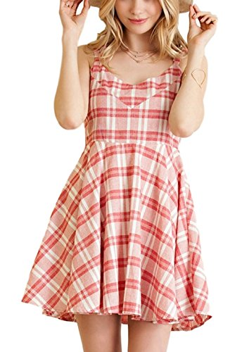 Entro Red/White Gingham Checker A-Line Dress with Criss Cross Back - Dress White Gingham Red