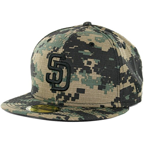 New Era 59Fifty San Diego Padres Fitted Hat (Digi Ripstop Camo) Men's Custom Cap (Custom New Era Hats)