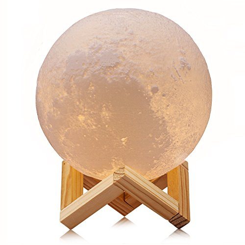 ACED 3D Printing 4.7Inch Moon Light Lamp Baby Night Light, Dimmable Color Changing, Touch Sensor Battery Operated LED Table Lamps Bedside for Bedrooms, Cool Christmas Gifts for Kids (Touch Standard Battery)