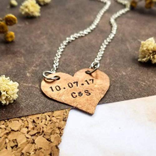 Personalized Copper Heart Necklace Custom Initials And Date Gift Ideas For Her Ships Quickly Anniversary Gift For Girlfriend Handmade Hand