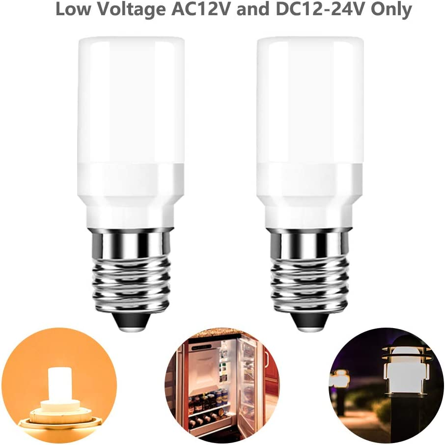 12V 24V Low Voltage Candelabra E12 Base LED Light Bulb for Refrigerator ice Maker Water Dispenser RV Marine Landscape 25W Replacement Warm White 3000k Non Dimmable Pack of 2